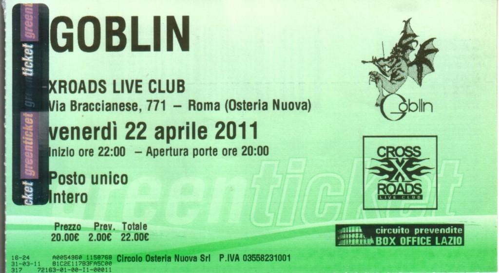 il biglietto del concerto